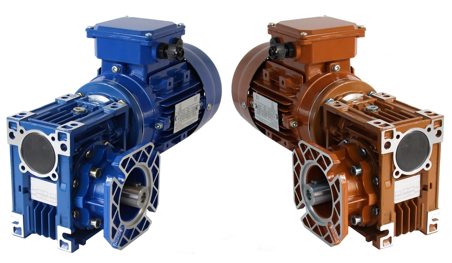 Worm gear with electric motors, stub shafts, output flanges and special paint (brown)
